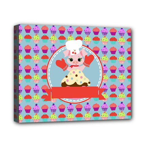 Cupcake With Cute Pig Chef Canvas 10  X 8  (framed)
