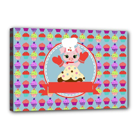 Cupcake With Cute Pig Chef Canvas 18  X 12  (framed)