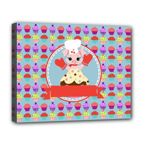 Cupcake With Cute Pig Chef Deluxe Canvas 20  X 16  (framed)