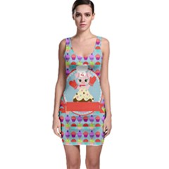 Cupcake With Cute Pig Chef Bodycon Dress