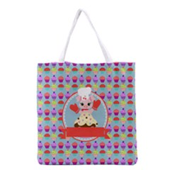Cupcake With Cute Pig Chef Grocery Tote Bag