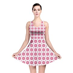 Sweety Pink Floral Print Reversible Skater Dress
