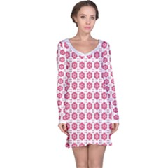 Sweety Pink Floral Print Long Sleeve Nightdress