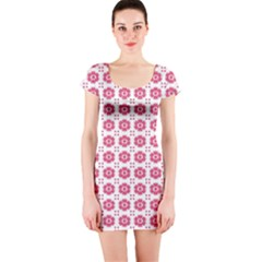 Sweety Pink Floral Print Short Sleeve Bodycon Dress