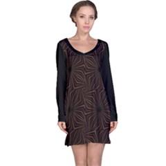 Tribal Geometric Vintage Pattern  Long Sleeve Nightdress