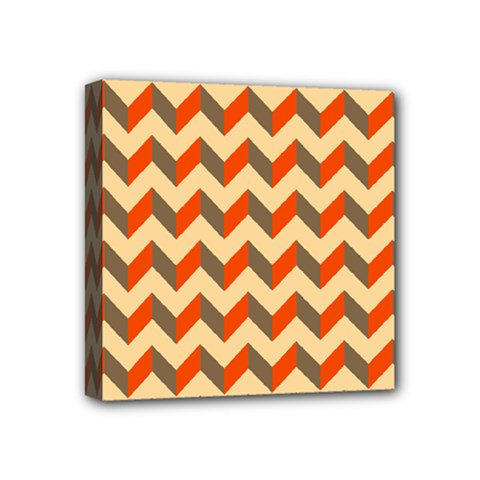 Modern Retro Chevron Patchwork Pattern  Mini Canvas 4  X 4  (framed)