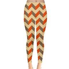Modern Retro Chevron Patchwork Pattern  Leggings