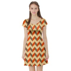 Modern Retro Chevron Patchwork Pattern  Short Sleeve Skater Dress