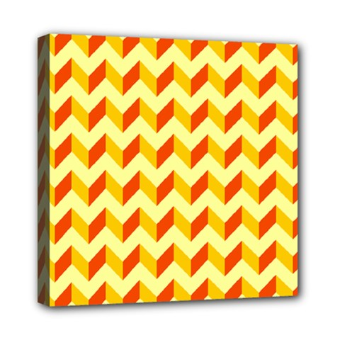 Modern Retro Chevron Patchwork Pattern  Mini Canvas 8  X 8  (framed)