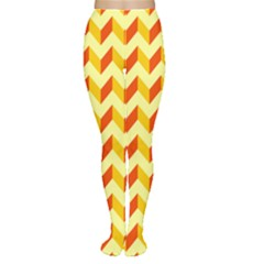 Modern Retro Chevron Patchwork Pattern  Tights