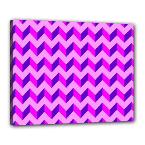 Modern Retro Chevron Patchwork Pattern Canvas 20  X 16  (framed)