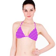 Modern Retro Chevron Patchwork Pattern Bikini Top