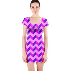 Modern Retro Chevron Patchwork Pattern Short Sleeve Bodycon Dress
