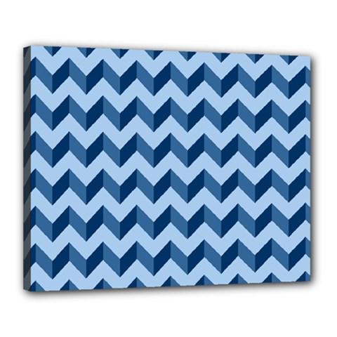 Tiffany Blue Modern Retro Chevron Patchwork Pattern Canvas 20  X 16  (framed)