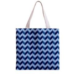 Tiffany Blue Modern Retro Chevron Patchwork Pattern Grocery Tote Bag