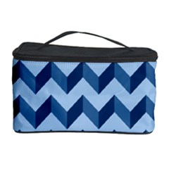 Tiffany Blue Modern Retro Chevron Patchwork Pattern Cosmetic Storage Case