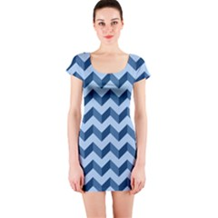 Tiffany Blue Modern Retro Chevron Patchwork Pattern Short Sleeve Bodycon Dress