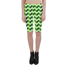 Green Modern Retro Chevron Patchwork Pattern Cropped Leggings