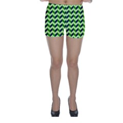 Green Modern Retro Chevron Patchwork Pattern Skinny Shorts