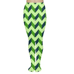Green Modern Retro Chevron Patchwork Pattern Tights
