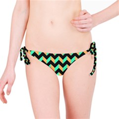 Neon and Black Modern Retro Chevron Patchwork Pattern Bikini Bottom