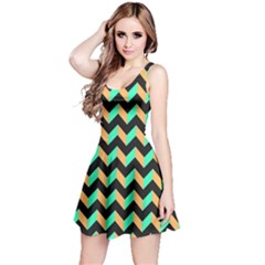 Neon and Black Modern Retro Chevron Patchwork Pattern Sleeveless Dress