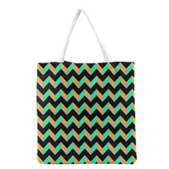 Neon and Black Modern Retro Chevron Patchwork Pattern Grocery Tote Bag