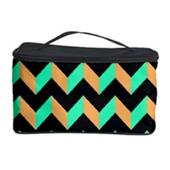 Neon and Black Modern Retro Chevron Patchwork Pattern Cosmetic Storage Case