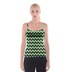 Neon and Black Modern Retro Chevron Patchwork Pattern Spaghetti Strap Top