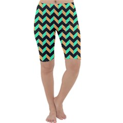 Neon and Black Modern Retro Chevron Patchwork Pattern Cropped Leggings