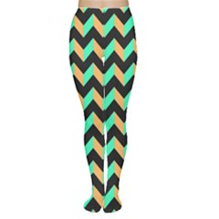 Neon and Black Modern Retro Chevron Patchwork Pattern Tights