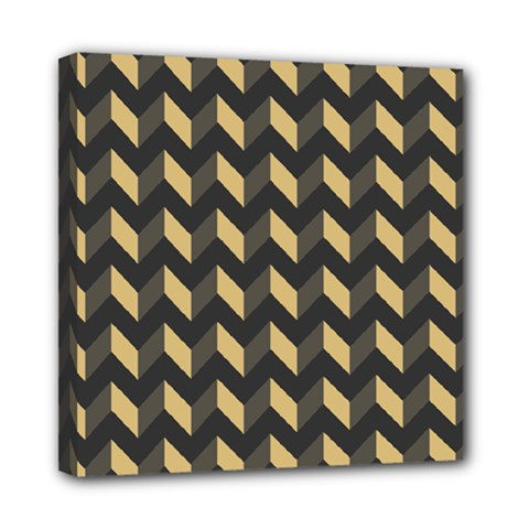 Tan Gray Modern Retro Chevron Patchwork Pattern Mini Canvas 8  X 8  (framed)