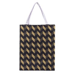 Tan Gray Modern Retro Chevron Patchwork Pattern Classic Tote Bag