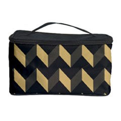 Tan Gray Modern Retro Chevron Patchwork Pattern Cosmetic Storage Case