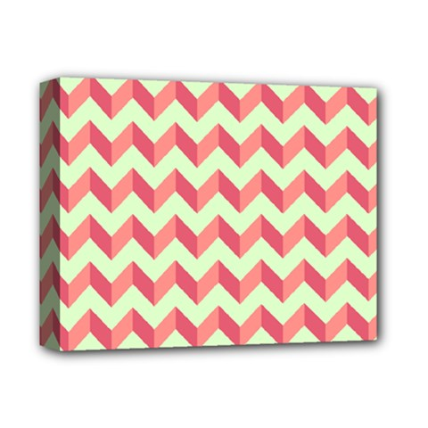 Mint Pink Modern Retro Chevron Patchwork Pattern Deluxe Canvas 14  X 11  (framed)