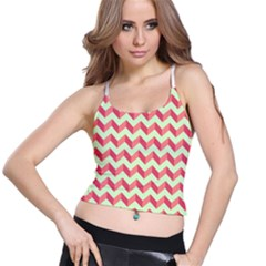 Mint Pink Modern Retro Chevron Patchwork Pattern Women s Spaghetti Strap Bra Top