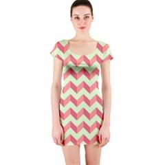 Mint Pink Modern Retro Chevron Patchwork Pattern Short Sleeve Bodycon Dress