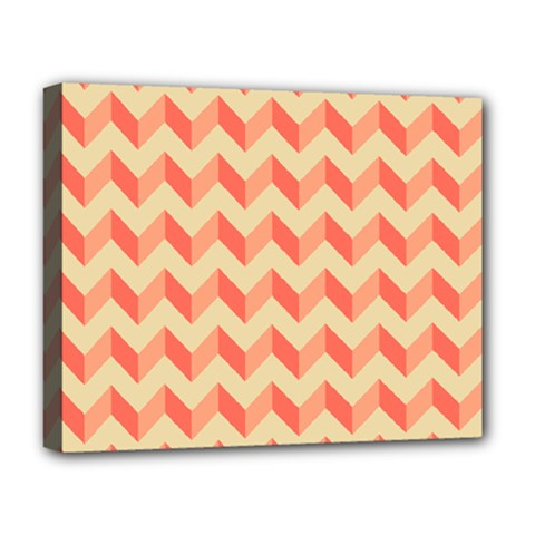 Modern Retro Chevron Patchwork Pattern Deluxe Canvas 20  X 16  (framed)