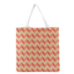 Modern Retro Chevron Patchwork Pattern Grocery Tote Bag