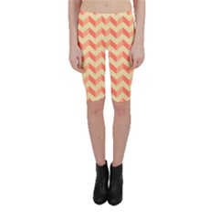 Modern Retro Chevron Patchwork Pattern Cropped Leggings