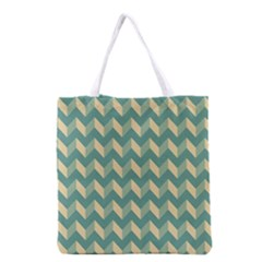 Mint Modern Retro Chevron Patchwork Pattern Grocery Tote Bag
