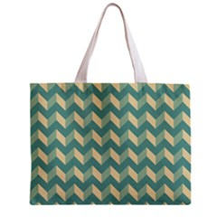 Mint Modern Retro Chevron Patchwork Pattern Tiny Tote Bag