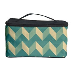 Mint Modern Retro Chevron Patchwork Pattern Cosmetic Storage Case