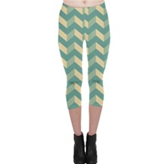 Mint Modern Retro Chevron Patchwork Pattern Capri Leggings