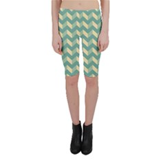 Mint Modern Retro Chevron Patchwork Pattern Cropped Leggings