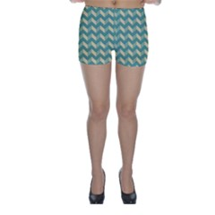 Mint Modern Retro Chevron Patchwork Pattern Skinny Shorts