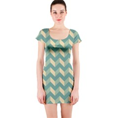 Mint Modern Retro Chevron Patchwork Pattern Short Sleeve Bodycon Dress