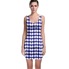 Blue And White Leaf Pattern Bodycon Dress