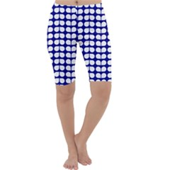Blue And White Leaf Pattern Cropped Leggings