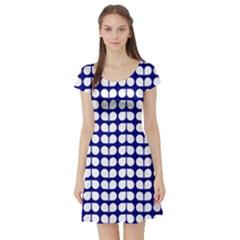 Blue And White Leaf Pattern Short Sleeve Skater Dress